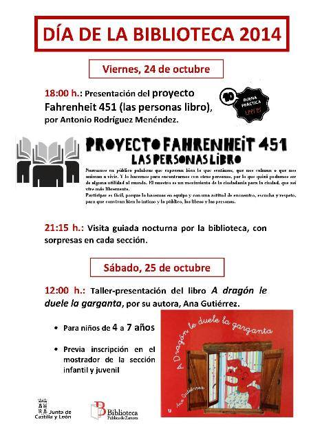 Cartel Día Biblioteca 2014 Zamora